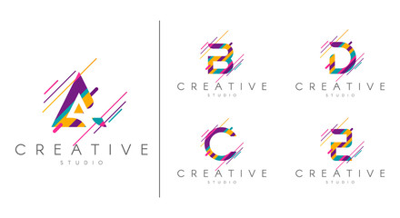 Obraz Letter logo set. Letter design for company name - A, B, C, D, E.  Abstract letters design, made of various geometric shapes in color.  - fototapety do salonu