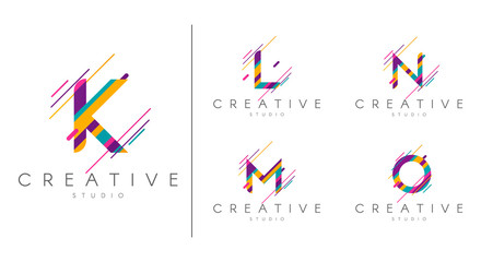 Letter logo set. Letter design for company name - K, L,M , N, O.  Abstract letters design, made of various geometric shapes in color.