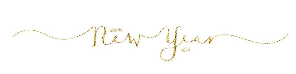 HAPPY NEW YEAR 2019 vector gold glitter hand lettering banner
