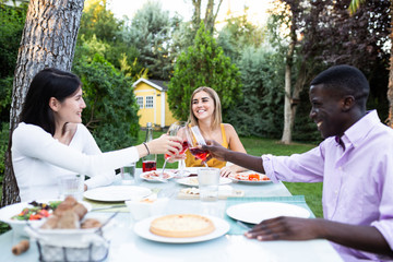 Side view of cheerful black man with smiling women sitting at table in green garden and clinking with wineglasses