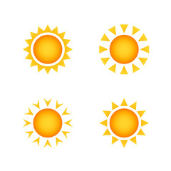 Set of stylized images of the sun. Vector design element of the summer heat. Solar icon set.