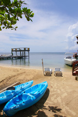 Roatan, Boats, Beach