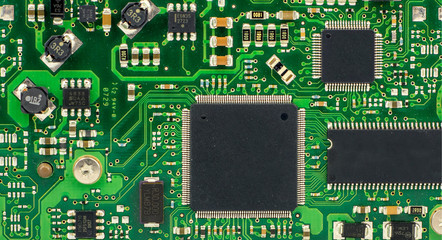 Green printed circuit board with computer components