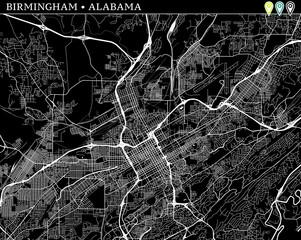 Simple map of Birmingham, Alabama