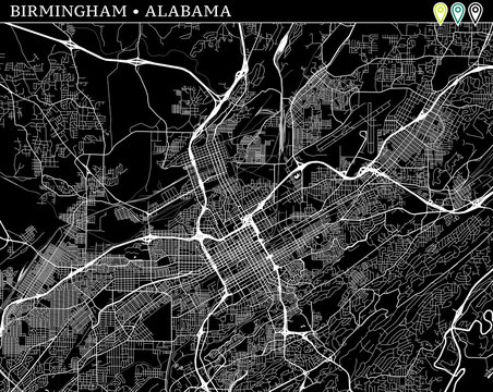 Simple map of Birmingham, Alabama
