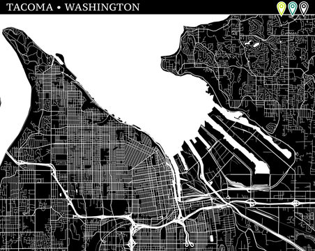 Simple map of Tacoma, Washington