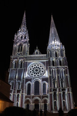 Building facade light festival Chartres