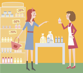 Two woman in a cosmetic shop. Buyer and seller. Cosmetic showcase. Customer service.