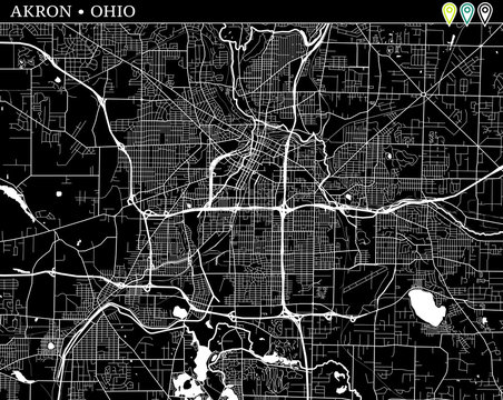 Simple map of Akron, Ohio
