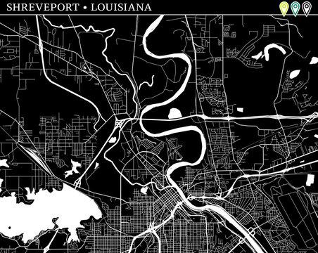 Simple map of Shreveport, Louisiana