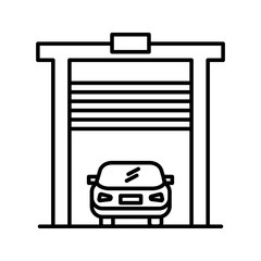 car in garage line black icon