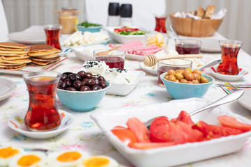 Breakfast - Traditional Turkish breakfast with tea ..