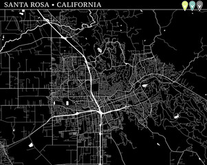 Simple map of Santa Rosa, California
