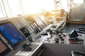 The control room of ship's bridge.