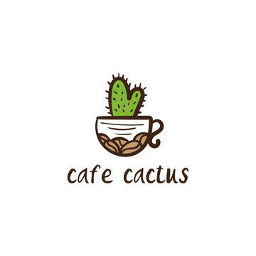 Conceptual icon logo with cup and cactus for the cafe. Vector illustration