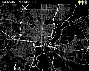 Simple map of Jackson, Mississippi