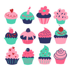 A set of charming cupcakes and muffins