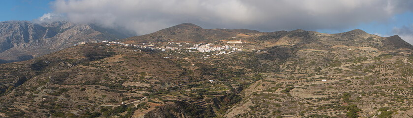 Panoramic view of Spoa from the road to Olympos on Karpathos in Greece