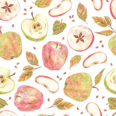 Seamless pattern. Apples, leaves and seeds painted with colored pencils isolated on a white background. Food repeated illustration. Fruit endless design for fabric, wrap paper or wallpaper.