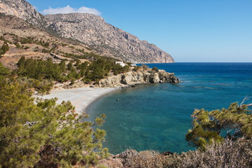 Coastline at Vananda Bay near Diafani on Karpathos in Greece