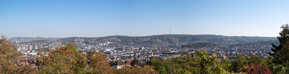 Panorama von Stuttgart von der Aussichtsplattform Zeppelinstrasse