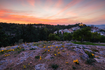 Evening view of the National Observatory on the Hill of Nymphs in Athens, Greece.