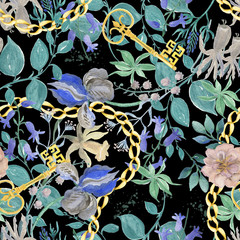 Watercolor painting seamless pattern with beautiful vintage flowers and gold key,chain