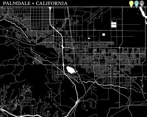 Simple map of Palmdale, California