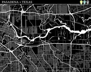 Simple map of Pasadena, Texas