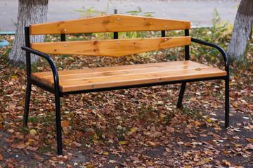 Garden bench in the autumn park. Yellow autumn foliage.