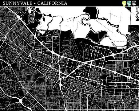 Simple map of Sunnyvale, California
