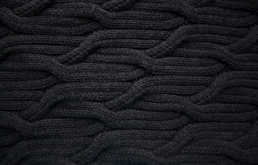 Black woolen cable knit pattern abstract background