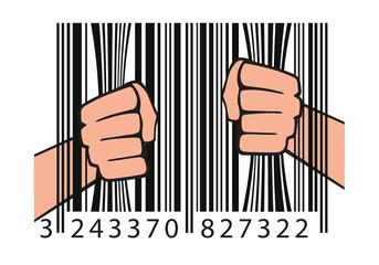 Concept de la consommation avec un code barre tenu par deux mains comme des barreaux de prison.