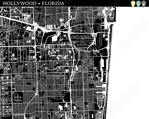 Hollywood Florida Map.Simple Map Of Hollywood Florida Stock Image And Royalty Free