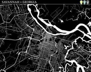 Simple map of Savannah, Georgia