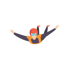 Skydiver flying in the sky, extreme sport, leisure activity concept vector Illustration on a white background