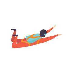 Skydiver falling through the air with parachute, extreme sport, leisure activity concept vector Illustration on a white background