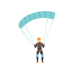 Skydiver flying with a parachute, skydiving, parachuting extreme sport vector Illustration on a white background
