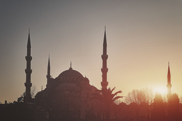 Sultan Ahmed Mosque at sunset.