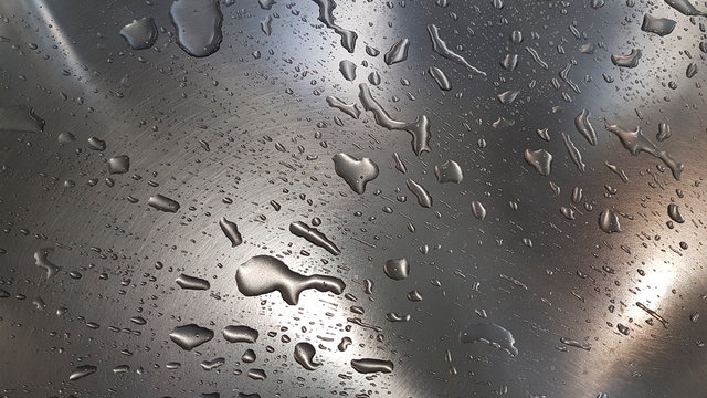 Water droplets in a stainless steal sink