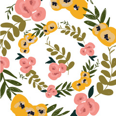 flower autumn pattern. Hand painted colorful floral composition.