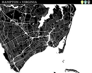 Simple map of Hampton, Virginia