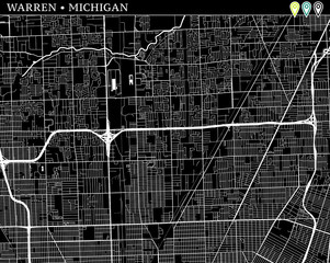 Simple map of Warren, Michigan