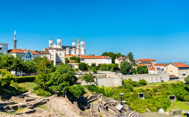 The Ancient Theatre and the Notre-Dame Basilica at Fourviere - Lyon, France