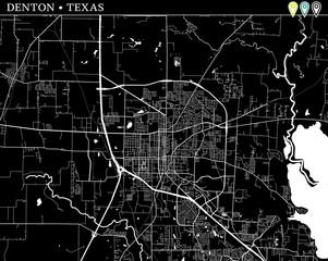 Simple map of Denton, Texas