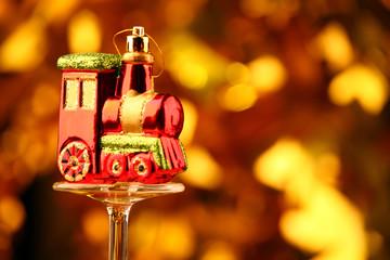 Toy train champagne glass