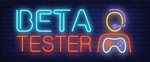 Beta tester neon text and person with game console. Computer games advertisement design. Night bright neon sign, colorful billboard, light banner. Vector illustration in neon style.