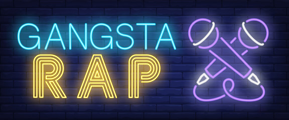 Gangsta rap neon text with two microphones. Modern music style and party advertisement design. Night bright neon sign, colorful billboard, light banner. Vector illustration in neon style.