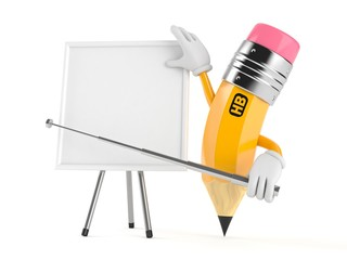 Pencil character with blank whiteboard