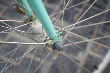 The retro bicycle's wheel selective focus